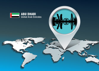 Map pin with Abu Dhabi skyline