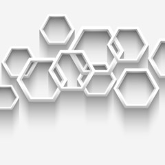 White geometric background with hexagons