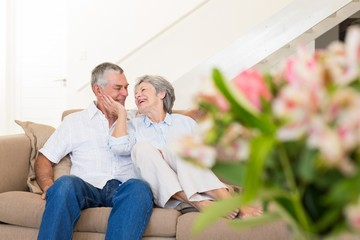Loving senior couple on sofa