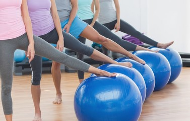 Low section of class with exercise balls at fitness studio