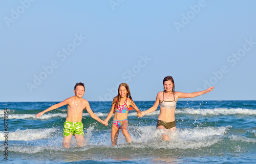 Kids splashing and playing