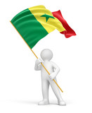 Man and Senegal flag (clipping path included)