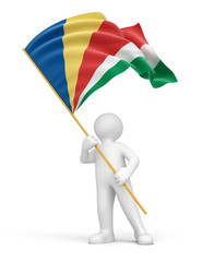 Man and Seychelles flag (clipping path included)