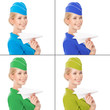 Charming Stewardess Holding Paper Plane In Hand. With Color Vari