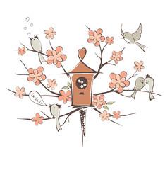Spring birds on a tree