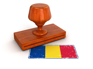Rubber Stamp Romanian flag (clipping path included)