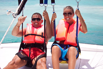 Parasailing together in summer