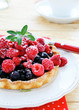 mini tart with raspberries and currants