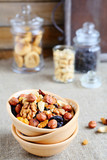 assortment nuts in ceramic bowl