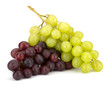 Red and green grape bunch isolated on white background