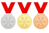 Medals with red ribbons for Winter games