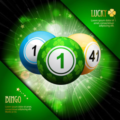 lucky clover bingo ball explosion on green