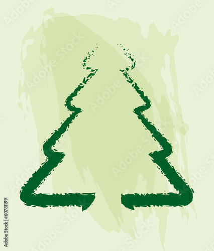 Ecology concept -  pine tree drawing