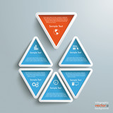 Six Blue Orange Triangles