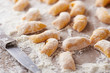 Raw pumpkin gnocchi close-up