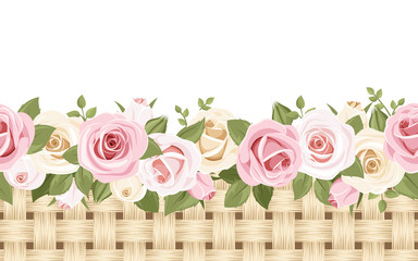 Horizontal seamless background with roses and wicker. Vector.