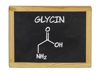 chemische Strukturformel von Glycin auf einer Schiefertafel