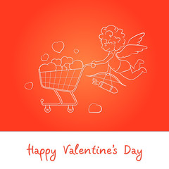 Cupid and Cart full of Hearts on Red Background