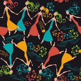 vector illustration pattern dancing women - 60782170