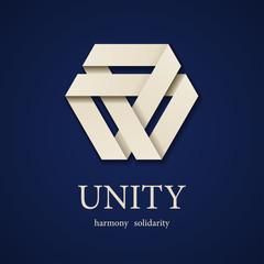 vector unity paper triangle icon design template