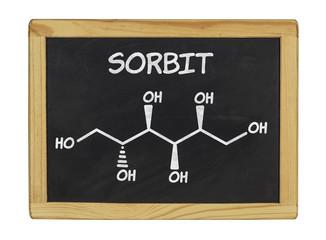 chemische Strukturformel von Sorbit auf einer Schiefertafel