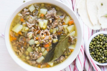 Meat soup with beef, mung green beans, legumes, hot Indian