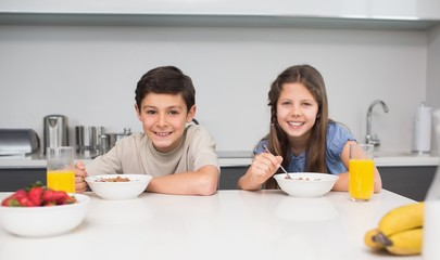 Young siblings enjoying breakfast in kitchen