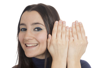 woman appear behind her hands
