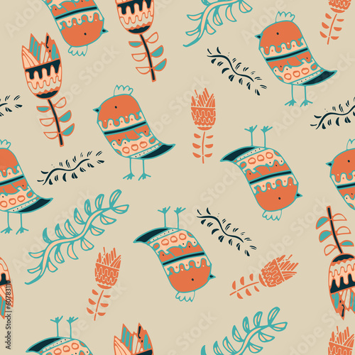 birds on a beige background