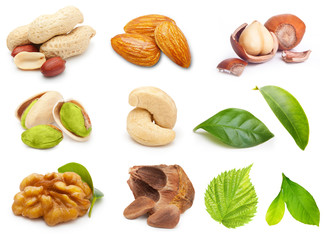 Different tipe of nuts isolated on white background.