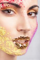 Closeup of model with extraordinary makeup