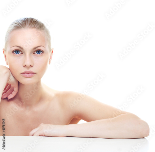 Beautiful woman's portrait isolated on white