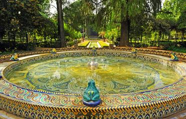 Maria Luisa Park in Seville, tiled fountain, Spain