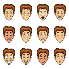 Man's emotions cartoon vector set