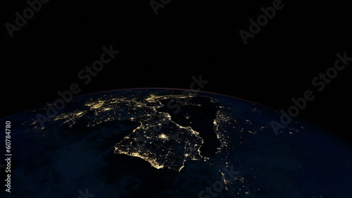 Europe at night animation