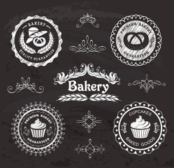 Set of vintage retro bakery labels on the chalkboard.