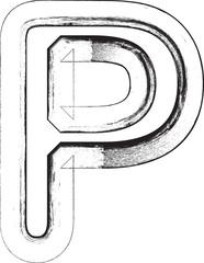 Grunge font. Letter P