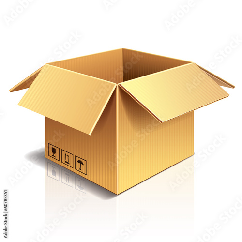 Opened cardboard box vector illustration