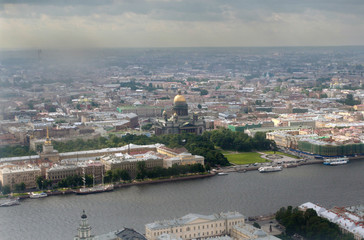 Top view of a large Russian city of St. Petersburg