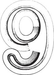 Grunge Font. Number 9