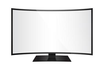 Télévision incurvée de face pour incrustation