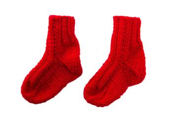 Rote Socken aus Wolle isoliert bzw. freigestellt zu Weihnachten