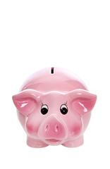 Sparkasse - rosarot isoliert auf weiß - Konzept für Geld