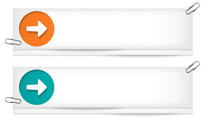 set of two blank banners with arrows
