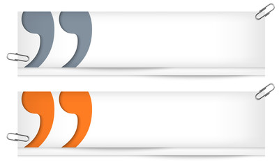 set of two blank banners with quotation mark