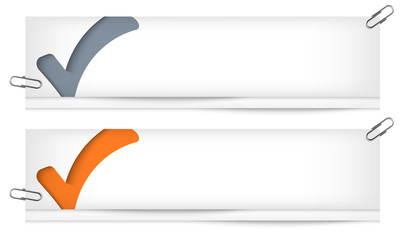 set of two blank banners with check box