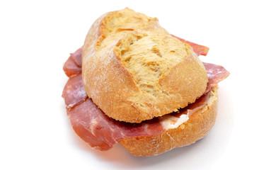 spanish bocadillo de jamon serrano, a serrano ham sandwich