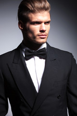 face of a handsome caucasian man in tuxedo