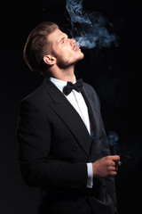side of an elegant man enjoying his cigar