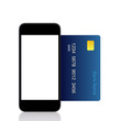 Isolated touch phone and a blue credit card